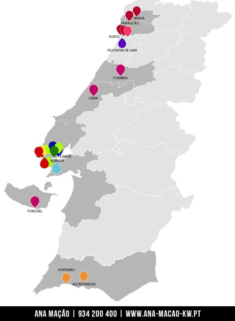 KW Portugal - Map of Market Centers