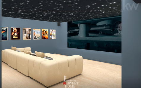 View of the cinema room in the basement