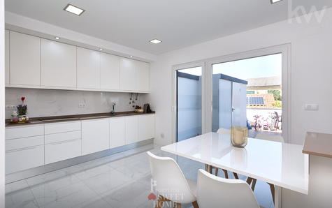 Large and bright kitchen view